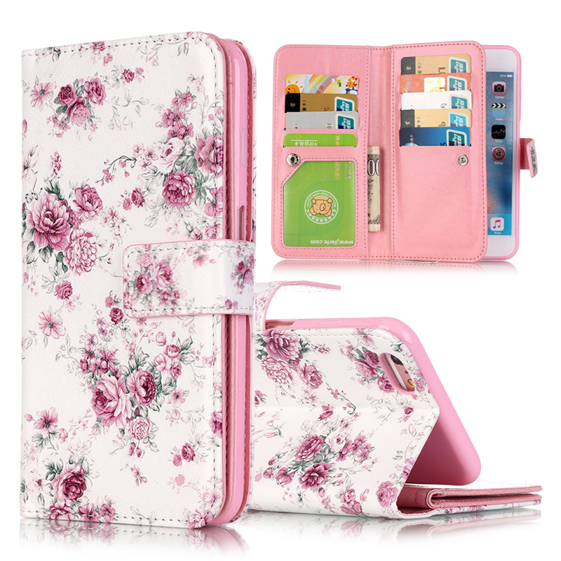 For Coque iPhone 6 Case Leather Wallet + Silicone Flip Case iphone 6 Cover 3D Relief Floral Painted For Fundas iPhone 6 6s Plus{
