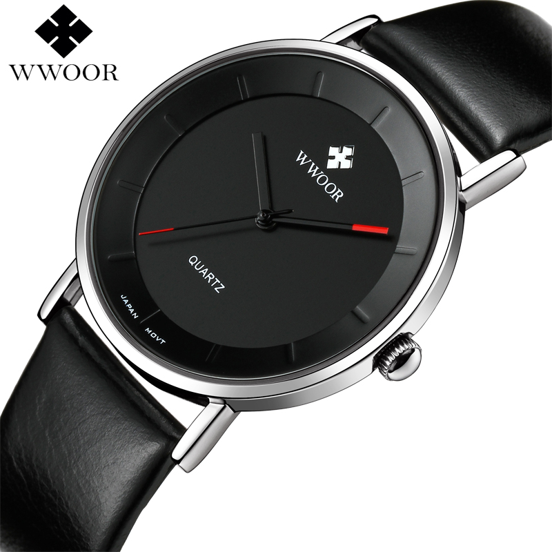 WWOOR Brand Luxury Ultra Thin Men Waterproof Sports Watches Men's Quartz Analog Clock Male Leather Strap Watch relogio masculino проза русской литературы до 1917 г эксмо 978 5 699 67995 9