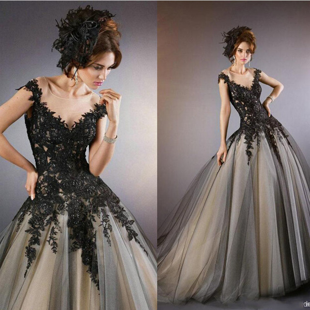 Gothic Wedding Dresses Black Lace appliques with Champagne Inside ...
