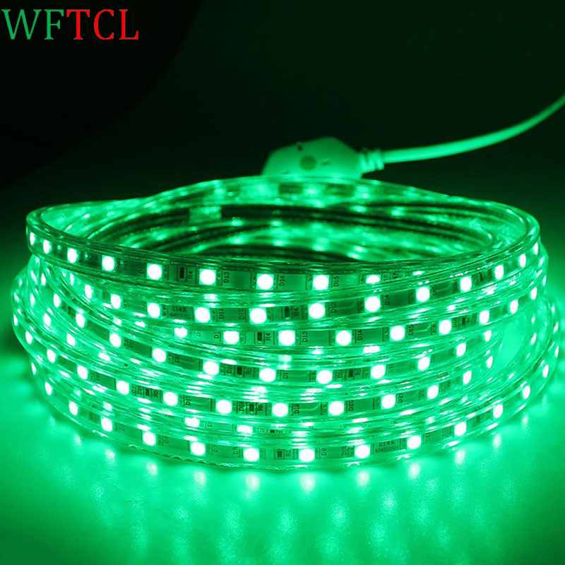 IP67 Waterproof 60led/m 220V SMD 5050 Led Strip Light Underwater Light Tape +EU Power plug for Swimming Pool Fish Tank Bathroom