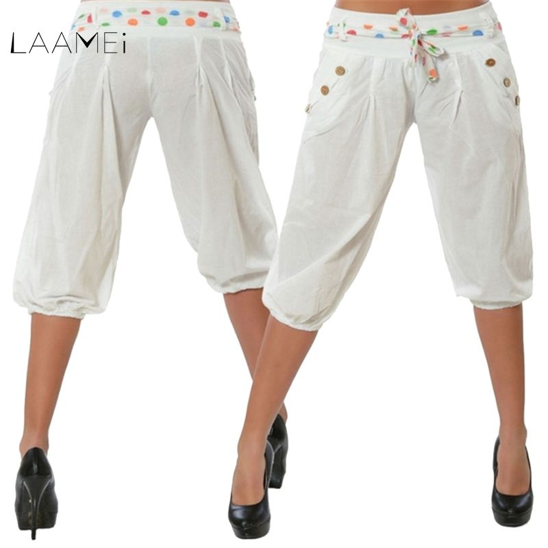 Laamei Causal Women 2018 Summer Solid Color Pants 2018 Elegant Bandag Pant Loose Knee Length Trousers Female Plus Size XXL Pants