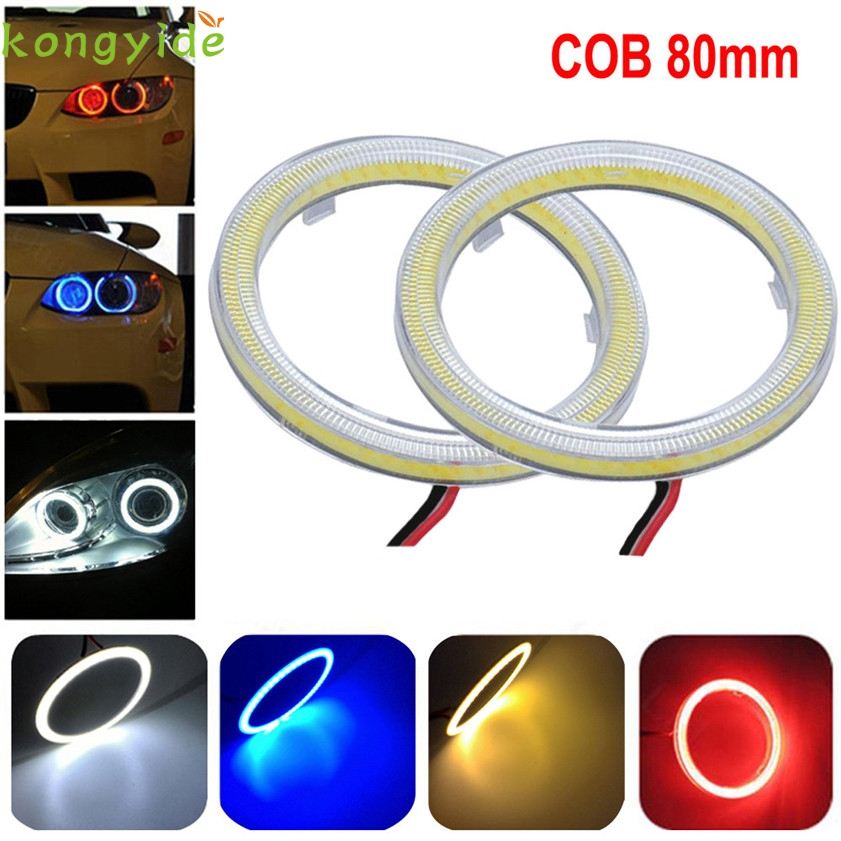 New 2pcs White 80MM COB LED Angel Eyes Headlight Halo Ring Warning Lamps with Cover car accessories car-styling