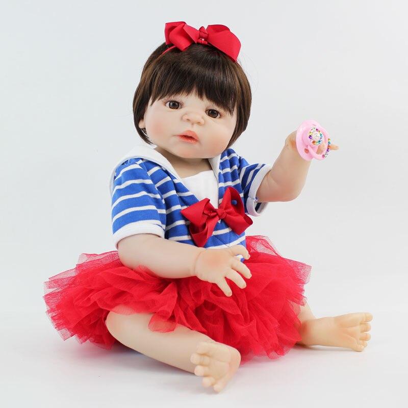 55 см всего тела силикона Bebe Кукла реборн принцессы для девочек реалистичные 22 винил для новорожденных куклы спальные сном игрушка водонепр...