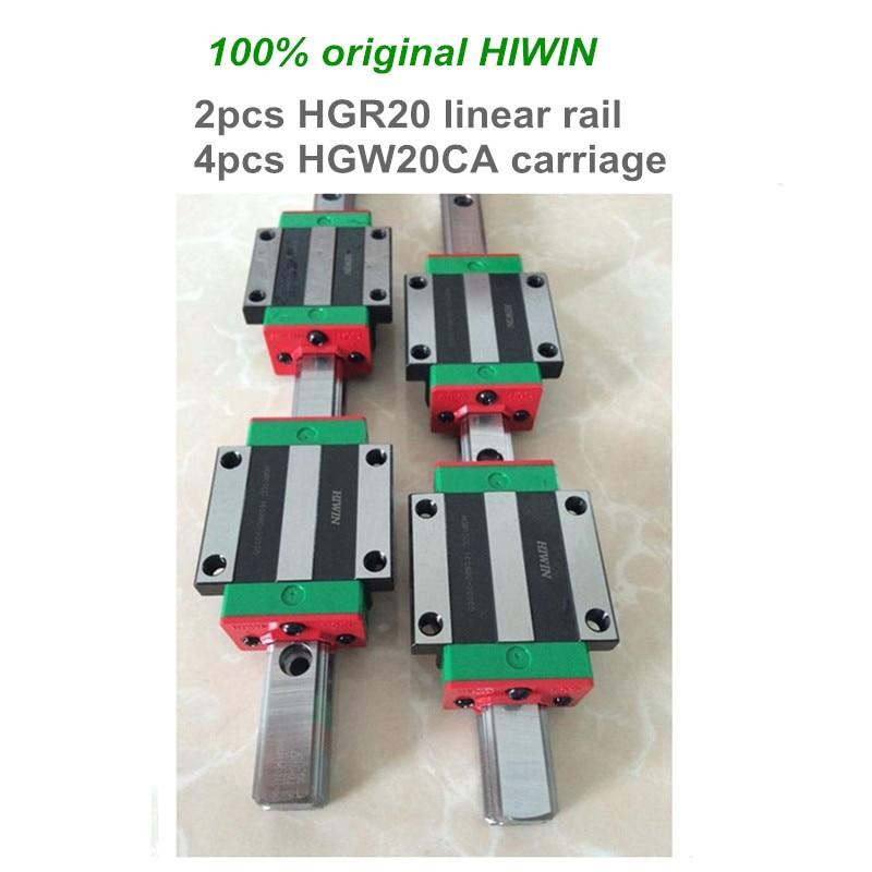 2 pcs HIWIN linear guide HGR20 - 650 700 800 900 1000 mm Linear rail with 4 pcs HGW20CA linear bearing blocks for CNC parts цена и фото