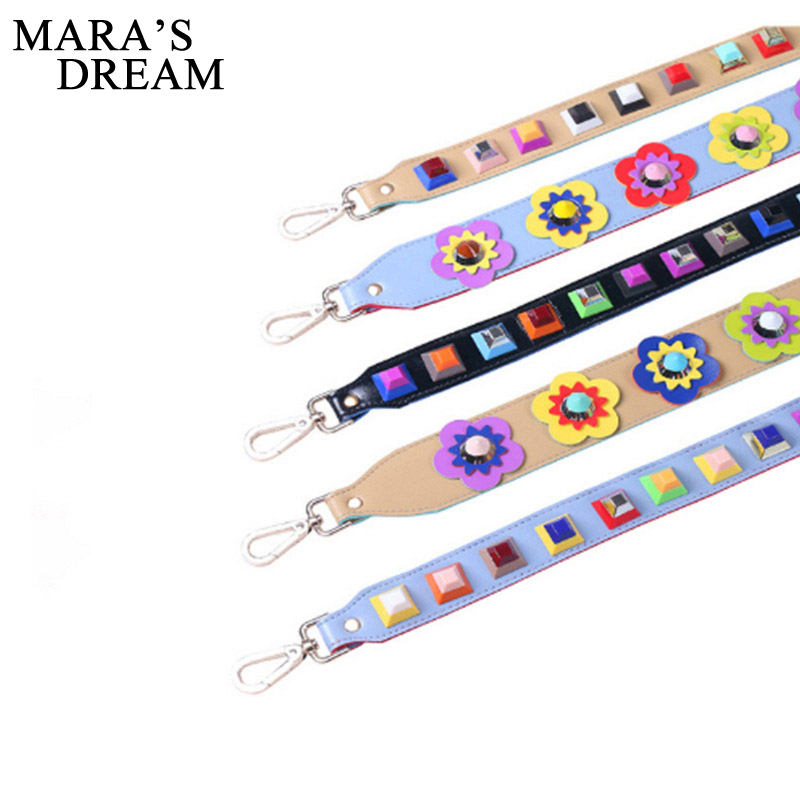Mara's Dream Bag Handle Replacement Bags Strap Floral Rivets Solid Women PU Leather Shoulder Bag Parts Accessories Buckle Belts