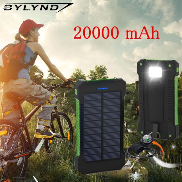 Para xiaomi banco de la energía 20000 mah portable solar power bank 20000 mah batería externa dual puertos cargador powerbank móvil cargador