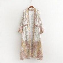 цены на 2019 Women Beach Kimono Cardigan Bohemian Floral Print Loose Robe Female Casual Beach Party Kimono Femme Sundress  в интернет-магазинах