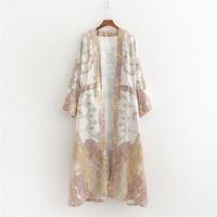 2019 Women Beach Kimono Cardigan Bohemian Floral Print Loose Robe Female Casual Beach Party Kimono Femme Sundress