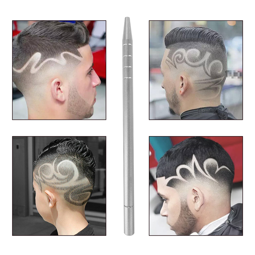 1Pcs Hairstyle Engraved Pen+10Pc Blades Hair Trimmers DIY Hairstyle Salon Magic Engraved Stainless Steel Pen Barber Hairdressing