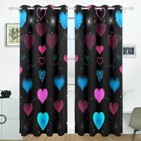 Valentine S Day Love Heart Curtains Drapes Panels Darkening Blackout Grommet Room Divider For Patio Window