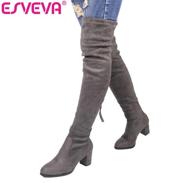 Esveva/2018 г. Сапоги выше колена Ботинки зима круглый носок теплый Для женщин Ботинки женские короткие плюшевые ботинки + стрейч Ткань модные Ботинки Большие размеры 34–43