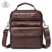 Mens Genuine Leather Handbag Shoulder Bag Oil Wax Cow Leather Bag Vintage Casual Style Flap Bags Fashion Crossbody Bags ZZNICK