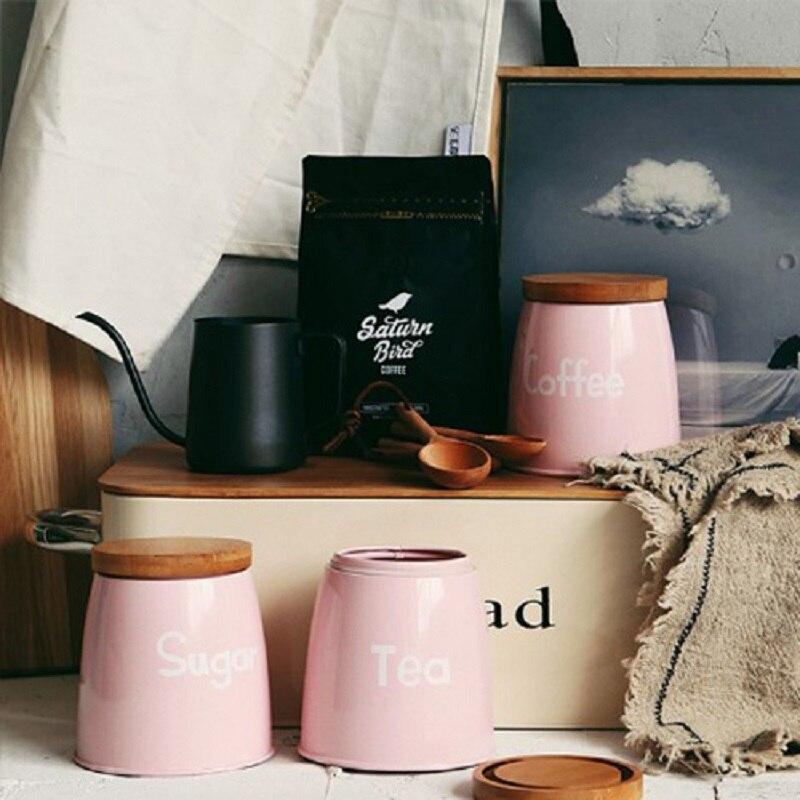 3 pièces/ensemble réservoir de stockage qualité belle acier ménagère ustensiles de cuisine multifonction thé café sucre boîte carrée caisse rose