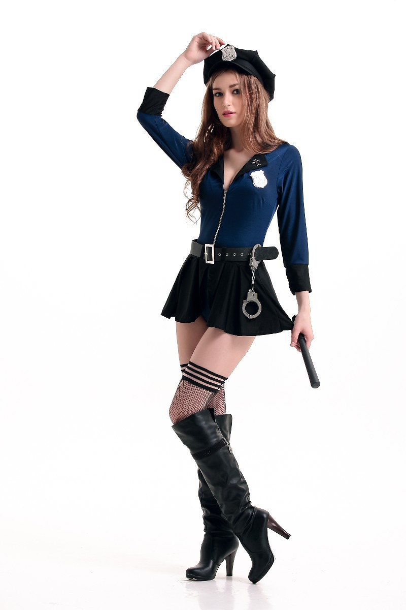 Free Shipping Ladies Blue Police Woman Costume Cops -8661
