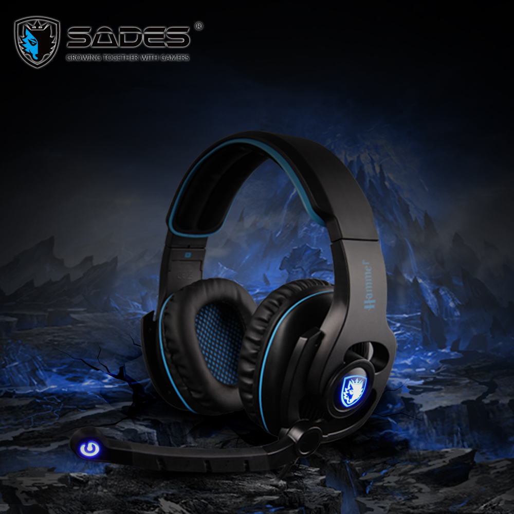 SADES HAMMER Virtual 7.1 Gaming Headphones Powerful Bass Surround Sound Headset e-Sports Headphone with Rotatable Microphone factory price binmer sades 7 1 surround sound bass headband gaming headset cobra design jy29 drop shipping