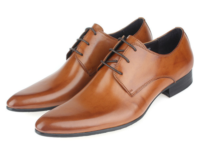 2017 Brown Mens Oxford Shoes Wedding Genuine Leather Business