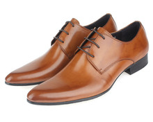 HOT SALE !! 2017 brown Mens oxford shoes Mens wedding shoes genuine leather business shoes mens dress shoes office mens flats