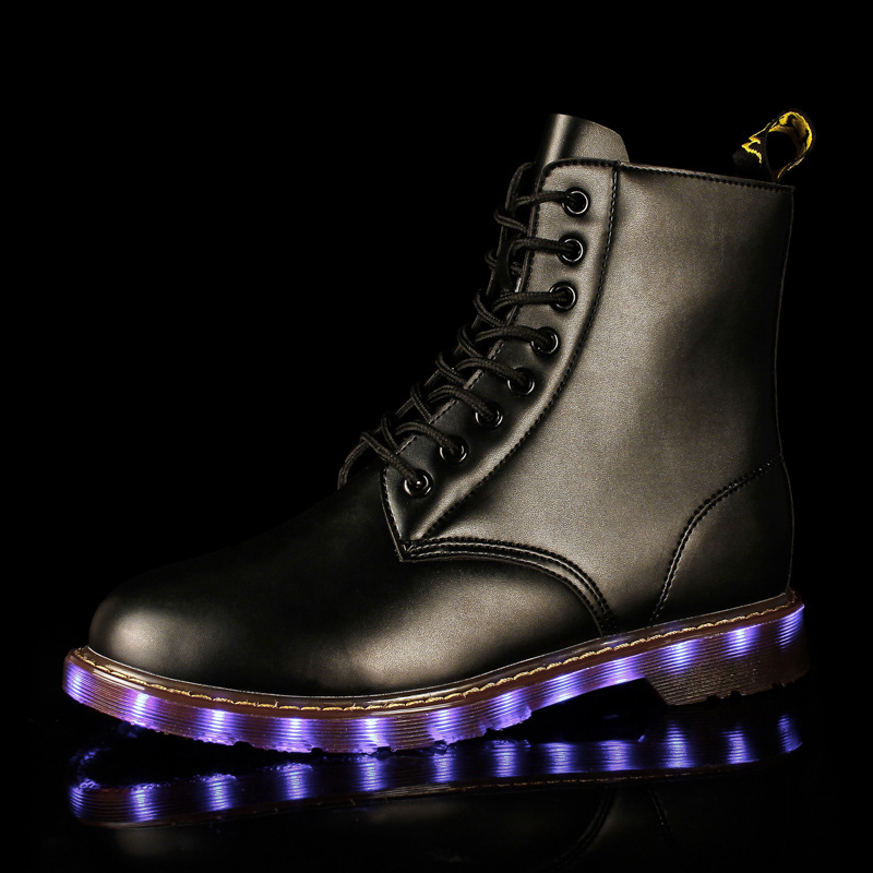 Winter Spring New Fashion Luminous Leisure Flashing Martin Boots LED High Heels  Light Up Shoes USB Charging Glowing Shoes women led light shoes casual shoes led luminous boots unisex genuine leather ankle boots women usb charging martin boots 35 46