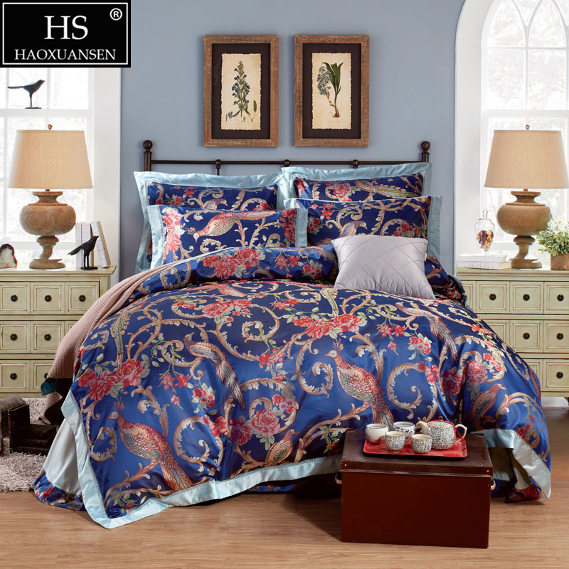 Luxury Queen King Size Peacock Peony Flower Jacquard Bedding Set Sateen Cotton 1 Duvet Cover 1 Bed Sheet 2 Pillow Case