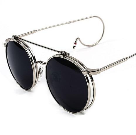 eb7d8261e4ea 2016 New G-Dragon Vintage Round Flip up Sunglasses Women Men Retro  Steampunk mirrored Glasses Points Fashion Brand Shades