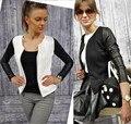 2016 Европейский Стиль Женщины Сращивания Ретро Длинным Рукавом О-Образным Вырезом Короткие Молнии Тонкий Пиджак Повседневная Пальто Куртки Размер S-2XL
