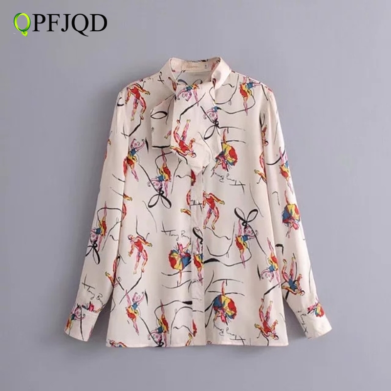 QPFJQD Western Style Spring Stand Neck Tie Elegant Women Shirts Fashion Character Dance Print Blouse For Woman Long Sleeve Tops