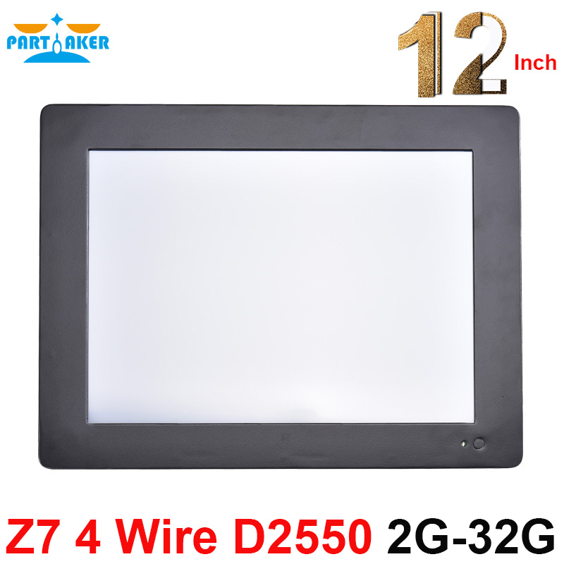 Partaker Z7 Intel Atom D2550 4 Wire Resistive Touch Screen All In One PC Computer With 2mm Slim Panle 4:3 1024*768