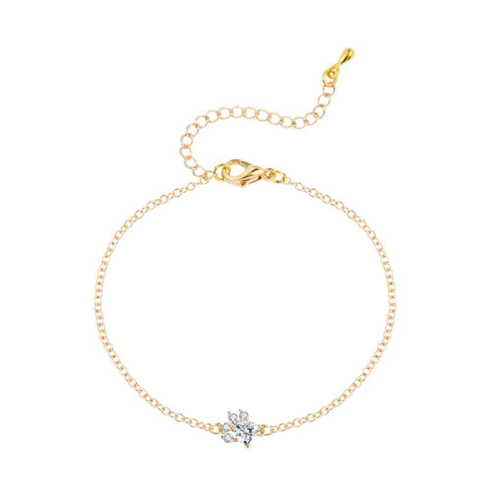 QIMING браслеты с серебряной собачьей лапой женские милые CZ наручные часы, окрашенные кристаллами модные ювелирные аксессуары браслет с животными для девочек