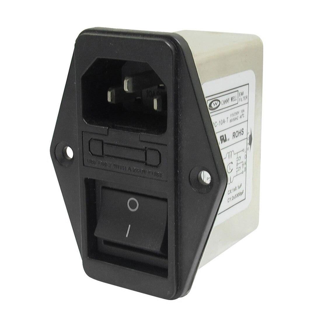 CNIM Heißer Solder Lug Terminals IEC 320 C14 EMI Filter + Boot Schalter + Sicherung Halter