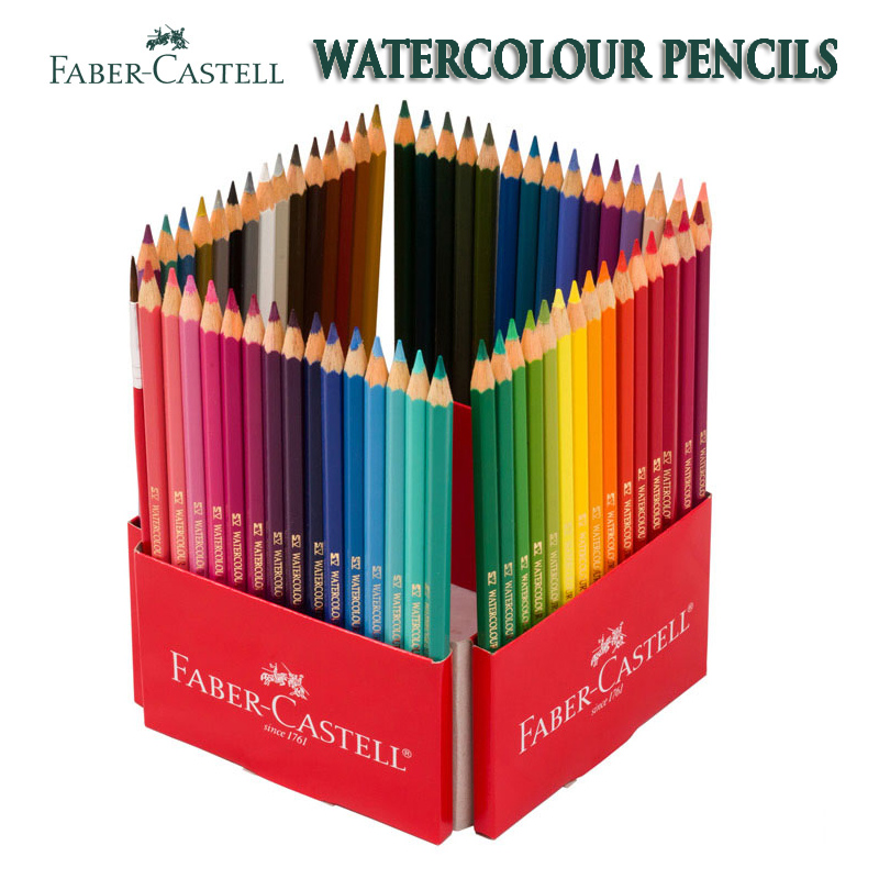 цена на 72 Faber Castell Watercolor Parrot Pencils Set Pencil Turns to Paint Non-Toxic Smoonth Rich Colors With Paint Brush Free
