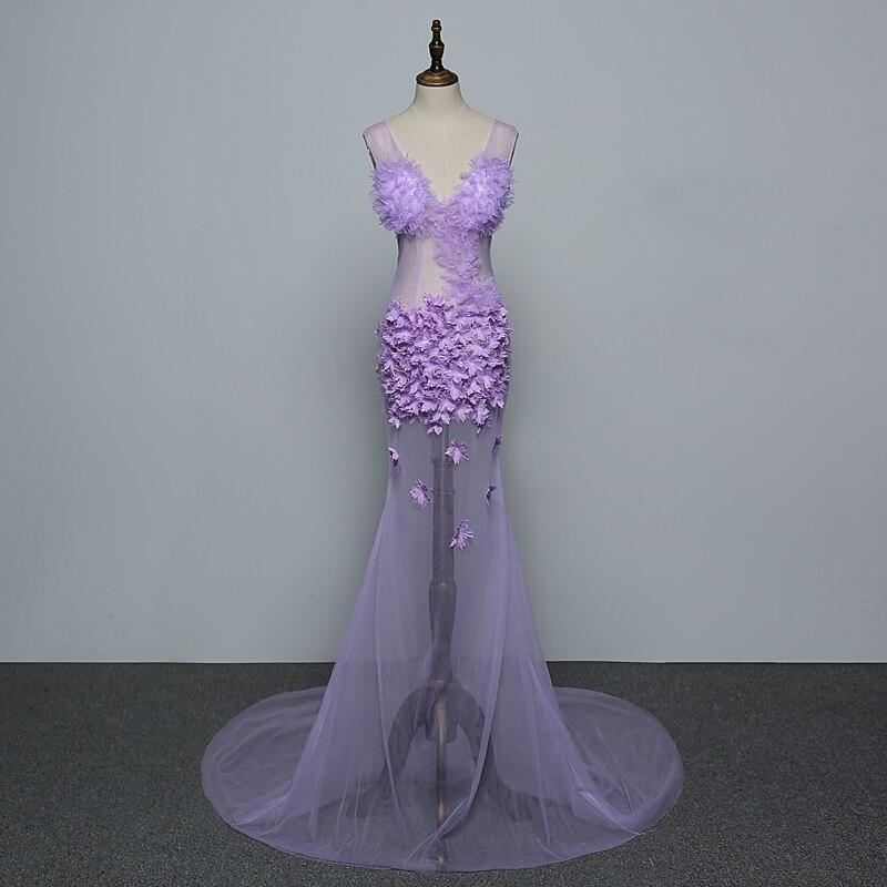 Sexy fleurs violettes maille sans manches voir à travers longue robe femmes anniversaire Bar vêtements de bal discothèque femmes chanteur spectacle robe