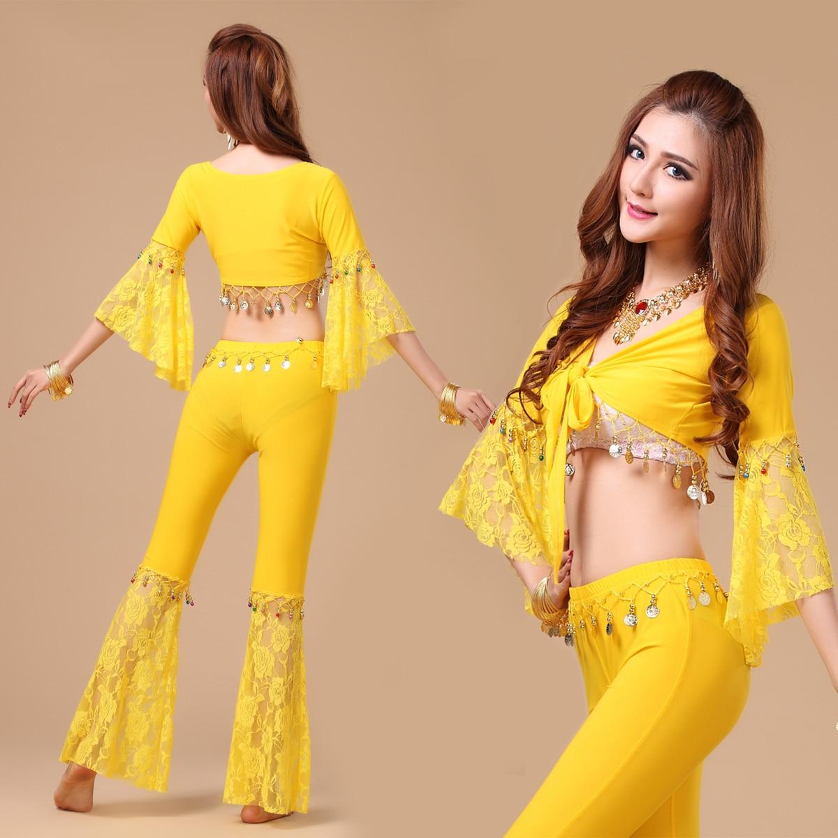 1b3c54db0e8f9 Kadınlar Seksi Oryantal Dans Kostüm Üst + Pantolon Kadın Giyim Dipleri Etek  Egzersizleri Bollywood Hint Dans Kostüm 8