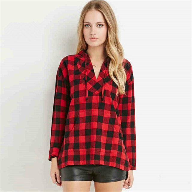 1aaff0b93f425b new fashion women plaid blouse long red shirts checks blouselLong sleeve  striped blouses tops chemise femme shirts free shipping
