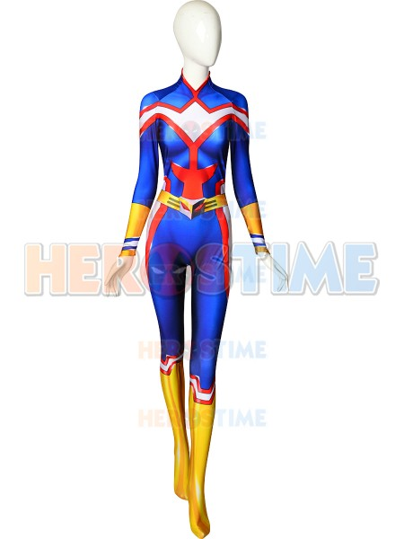 Boku No My Hero Academia All Might Cosplay Costume 3D Print Lycra Spandex Blue Men Women