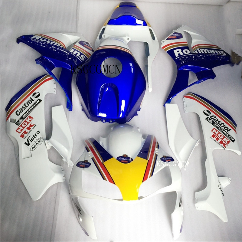 Nn-full bleu carénages blancs pour Honda CBR600RR F5 2003-2004 100% ABS Injection plastiques F5 03 04 carrosserie moto capot