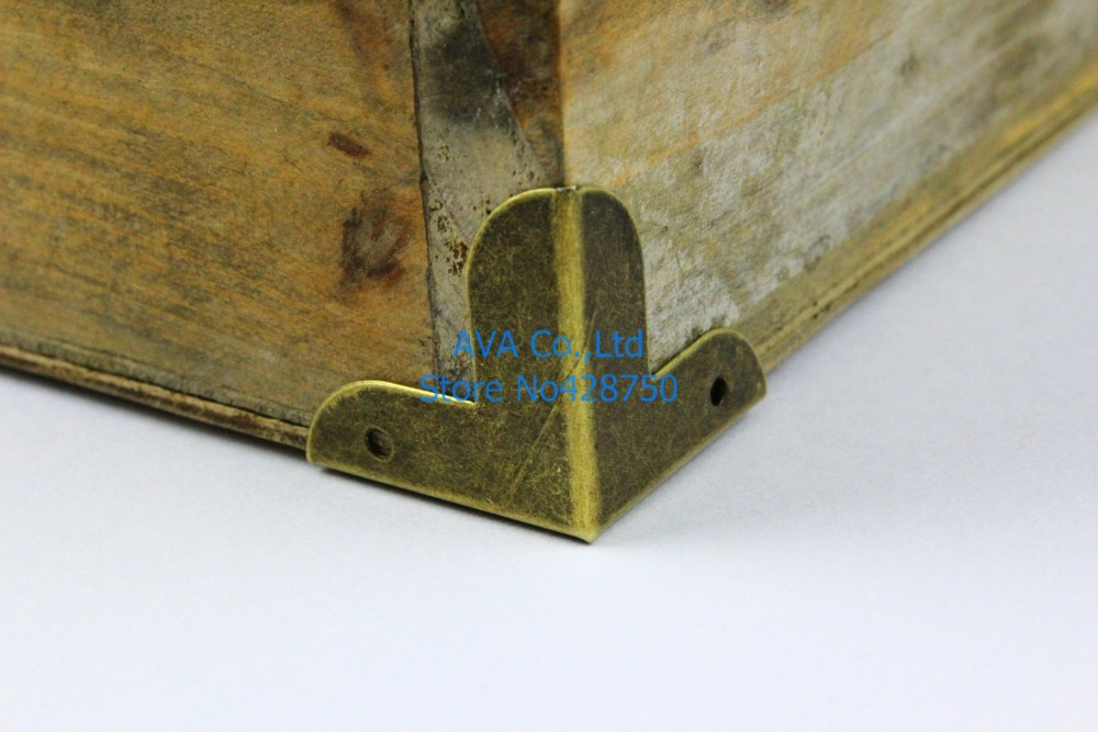 40 Pieces 22mm Antique Brass Jewelry Box Corner Gift Box Metal
