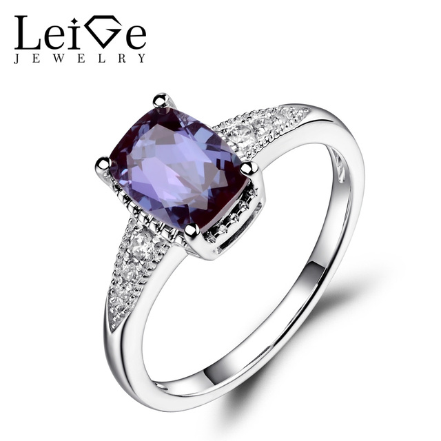 Leige Jewelry Cushion Cut Alexandrite Ring Wedding Engagement Rings