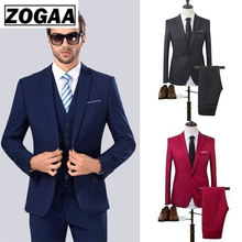 2019 High Quality Men Fashion Slim Suits Male Business Casual Groomsman 2pcs Wedding Suit Men's Jacket Pants Trousers Sets(China)