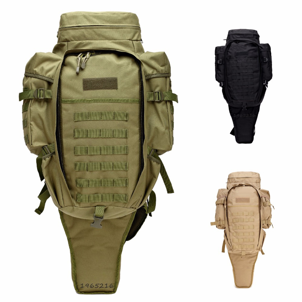 Multi Military Tactical Rifle Backpack Solid Nylon wearproof Outdoor Sport  Hiking backpack 60L Molle Gun Bag sexy plunge neck short sleeve backless printed maxi dress for women