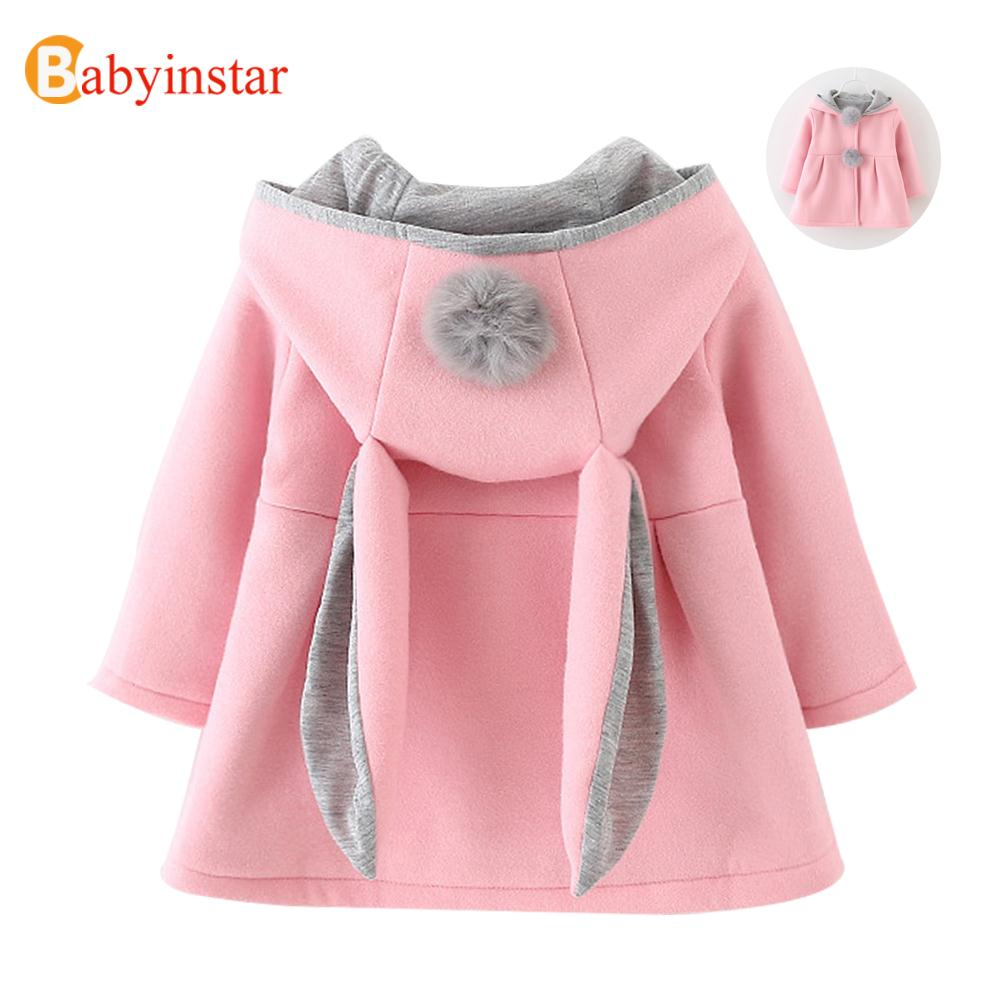 Rabbit Ear Hooded Jacket Girls Coat Autumn Winter Warm Kids Tops Girls Clothing