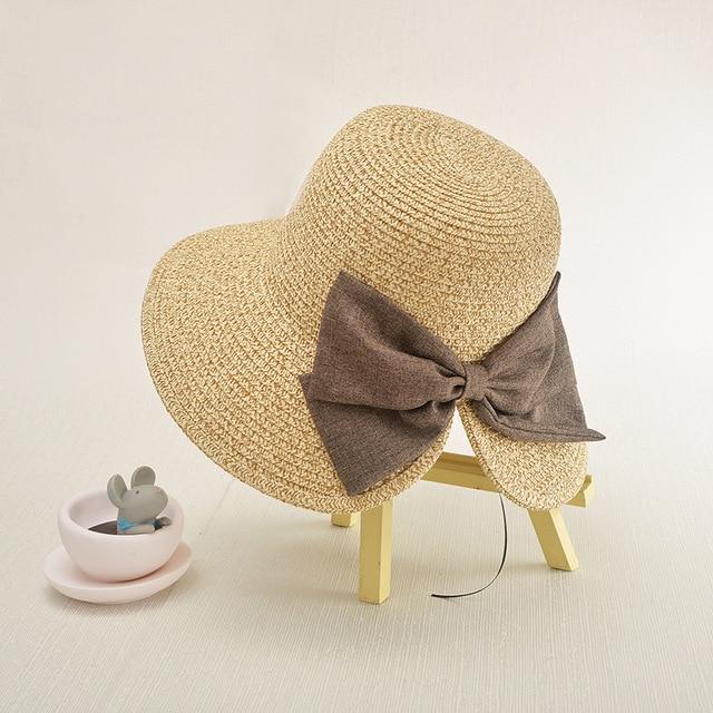 81f8980a Summer Hats For Women Chapeau Femme Sun Hat Beach Panama Straw Hat Large  Wide Brim Black Ribbon Bow Visor Bone Female Cap
