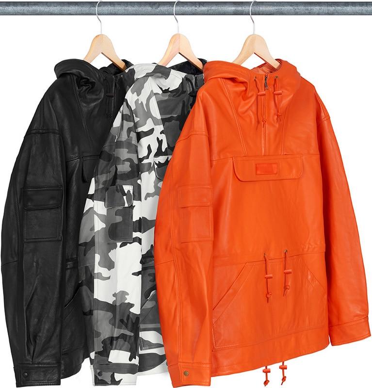 8 s Vendu!! 18FW Cuir Anorak 1:1 Bogo Broderie Femmes Hommes En Cuir Veste Coupe-Vent Noir et Camouflage
