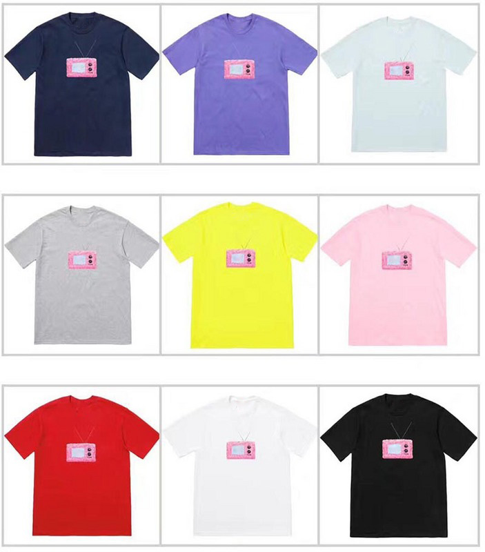 94610a5c208 2018ss USA Streetwear Boxlogo Pink TV Printed Women Men T shirt Tees Hiphop  Skateboard Men Cotton