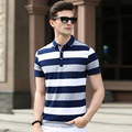 2016 Newest arrival men's summer casual contrast colors stripes cotton polo shirts