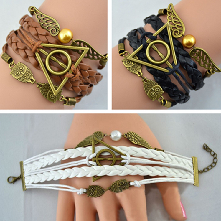 Hot Harri Necklace Series Potter Magic Gifts Death Hallows Action Figure Retro Leather Cord Bracelet Golden Wings Owl Necklace