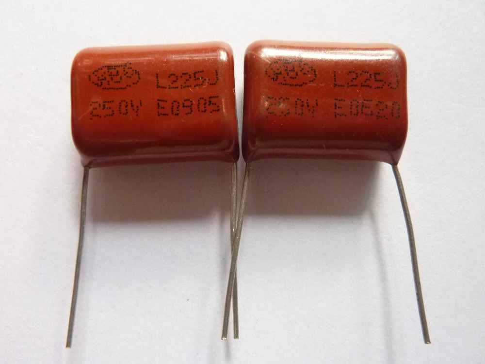 10pcs CBB 225 250V 225J CL21 2.2uF 2200nF P20 Metallized Polypropylene Film Capacitor