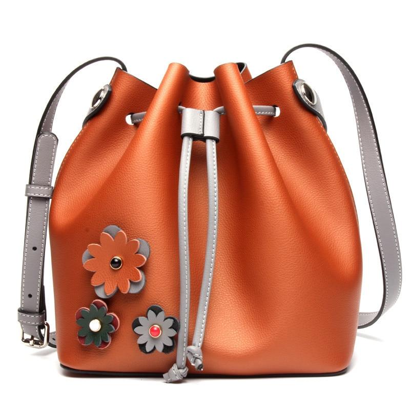 купить New Genuine Leather Female Bag Bucket Big BAG Color Bump Leisure Fashion Cowhide Shopping Shoulder Bags SS0202 недорого