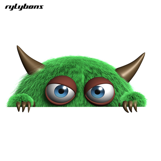 Rylybons Funny Body Car Sticker Animal D Green Little Monster   Widow Car Stickers