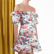 Women Sexy Off Shoulder Halter Floral Print Dress Slash Neck Short Sleeve Short Dress Fashion Hollow Out Party Dress