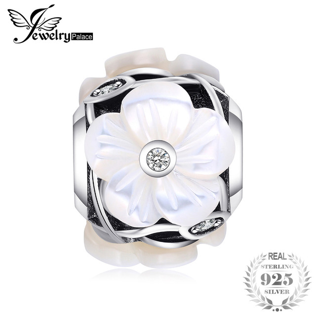 Jewelrypalace 925 Sterling Silver Pearl Flower White Murano Glass Beads Charms Fit Bracelets Gifts For Women Fashion Jewelry